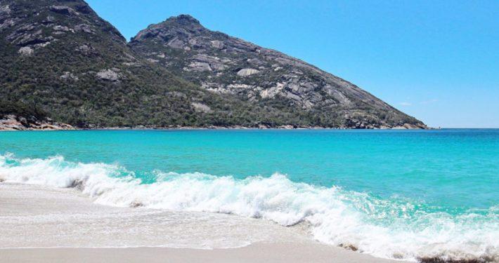 Wineglass Bay Tour, Hobart, Tasmania, Wineglass Bay Day Tours, wave on beach